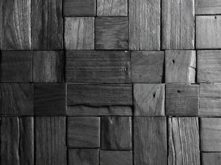 木のモザイクのテクスチャ モノトーン