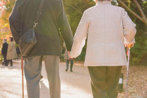 An old couple holding hands