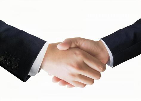 Businessmen handshake and white background