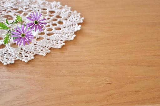 Wood grain table white lace and purple flowers spring background image wallpaper texture white wood frame material