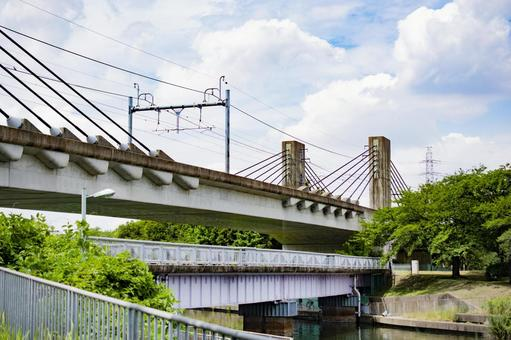 Overpass footbridge pedestrian bridge river blue sky