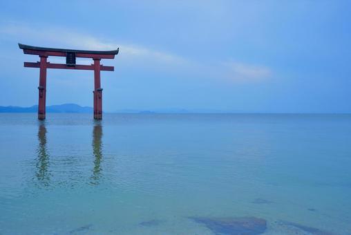 Torii standing on Lake Biwa