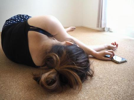 Summer housewife and mobile lying down