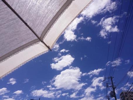 여름 하늘과 양산