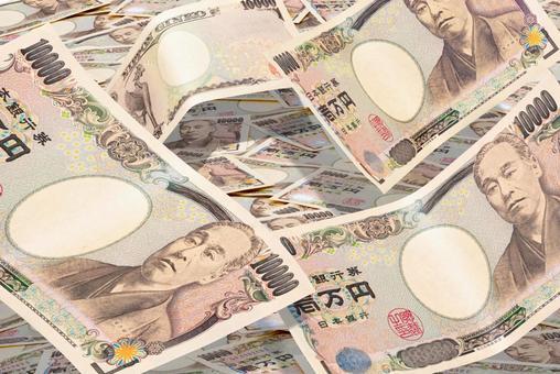 Money 10,000 yen bills Many falling image materials