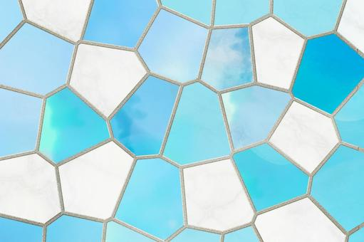 Mosaic tile style turquoise background texture