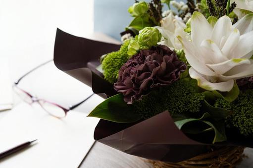 Flower arrangements and letters
