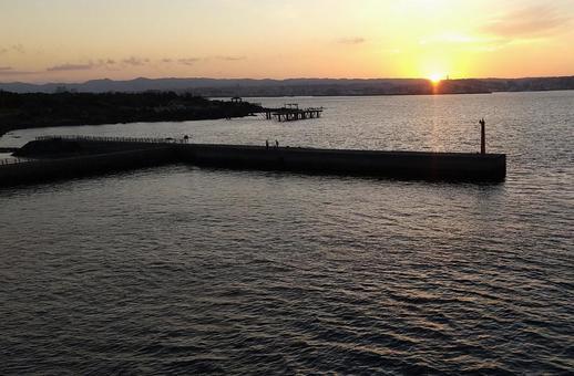 Sunset in Kagoshima City (from Sakurajima Ferry)
