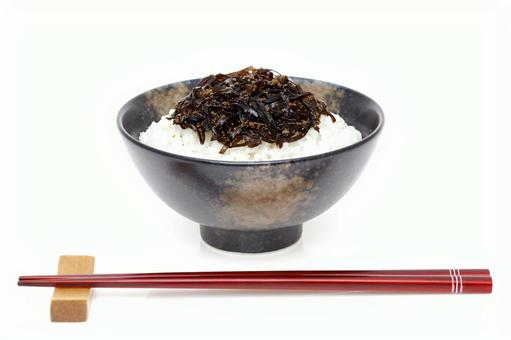 Cooked boiled rice with kelp