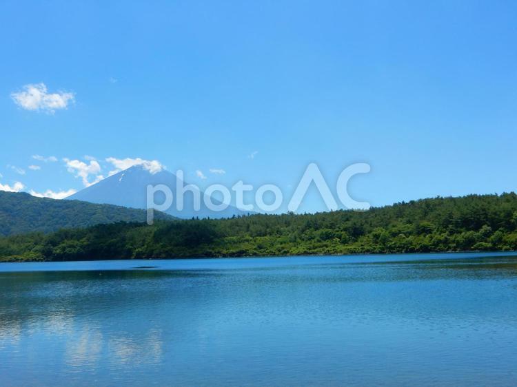 西湖から夏の富士山と雲の写真
