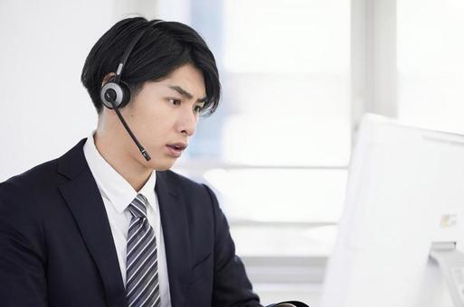 Call center man handling complaints