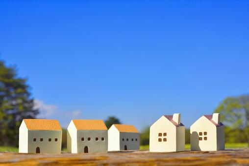 Blue sky and housing Miniature house
