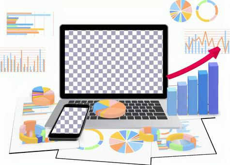 Laptops, smartphones and graphs-PSD files that are easy to mock and synthesize