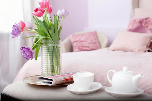 A table near the bed