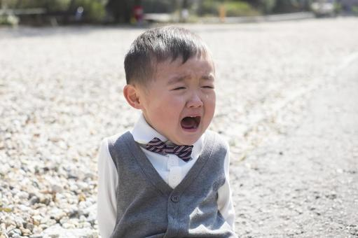 3-year-old child crying on the go