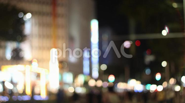 愛知 名古屋 栄  夜 イルミネーション 夏 玉ボケの写真