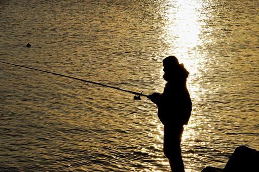 Fishing girl silhouette