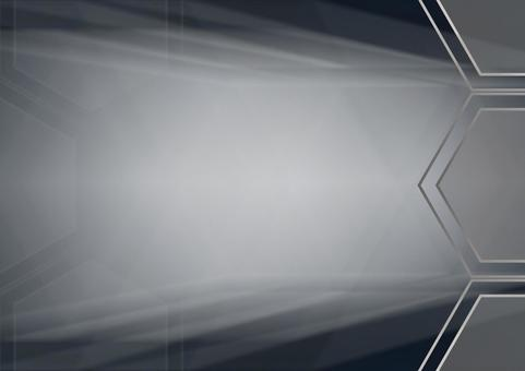 Hexagon and radial lines Background illustration material (black)