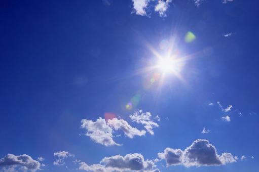 Shining dazzling sun sky pattern image material