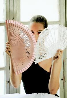 Women with folding fan 10