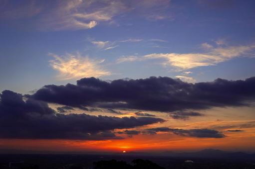 Blue and orange gradient dusk