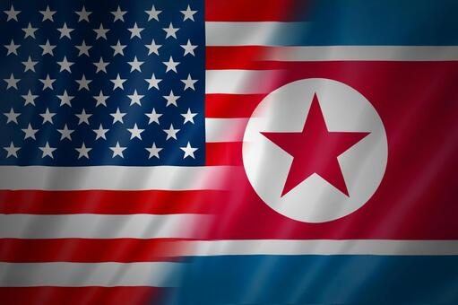 America and the North Korean flag 2
