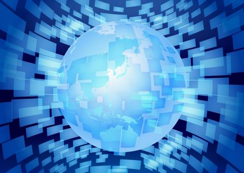 Blue earth network technology abstract background material