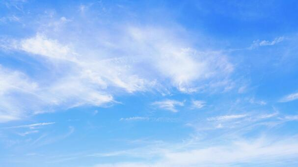 Beautiful blue sky with thin clouds Sky background