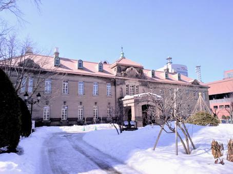 Former Sapporo Archives Museum in winter in Hokkaido