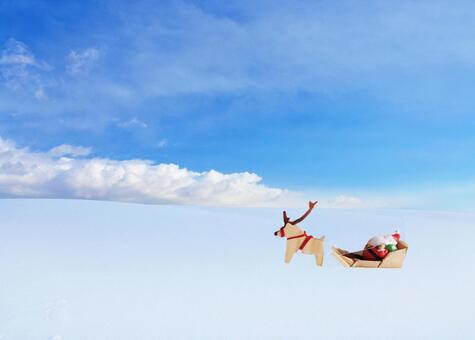 聖誕老人和馴鹿中午