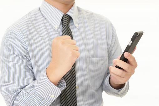 與智能手機的商人
