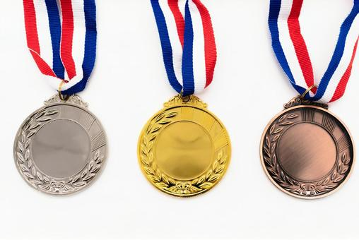 Gold silver bronze medal white background