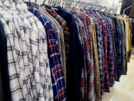 [Men] Plaid long sleeve shirt