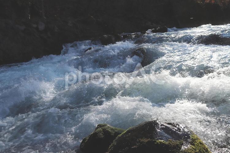 日光大谷川の激しい流れの写真