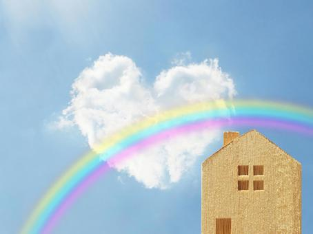 Heart cloud and rainbow and house