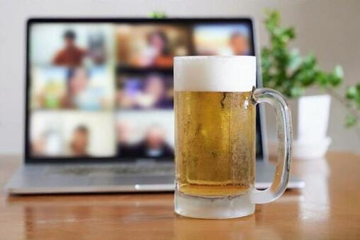 Image of having a drinking party online using a computer