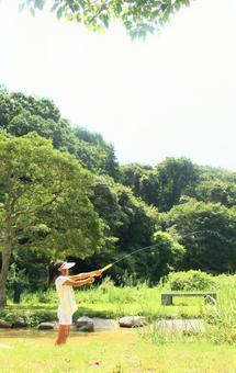 Children playing water guns