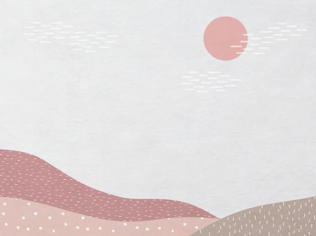 日之出和山景日本紙_淺紅色現代日本花紋紋理_背景材料