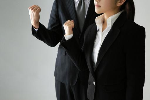 Businessman in guts pose