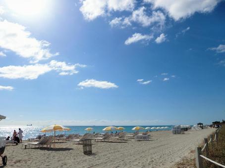 열대의 푸른 하늘과 흰 모래 사장
