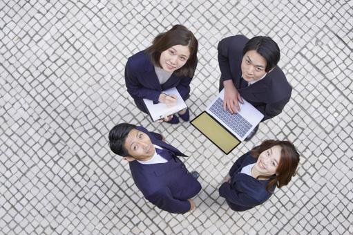 Business scene, 4-person team, meeting