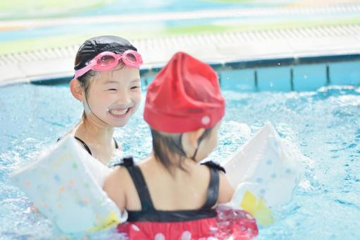 Children entering the pool