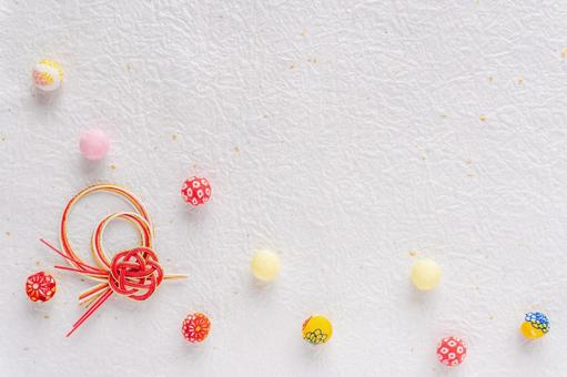 Japanese-style background of crepe balls and mizuhiki work