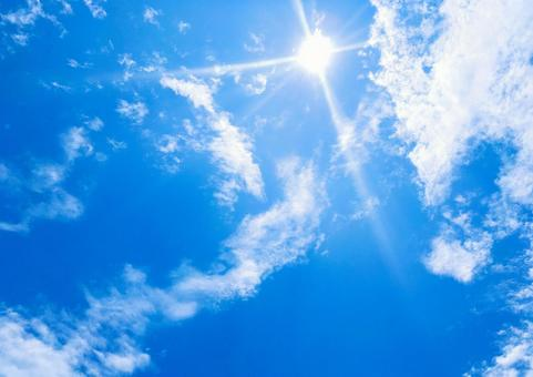 Dazzling sun and blue sky