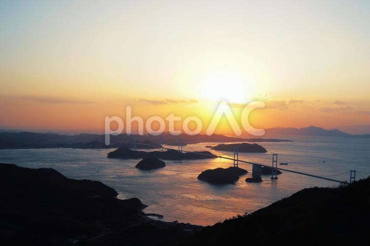 しまなみ海道 夕日の写真