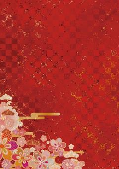Japanese style background material with checkered pattern