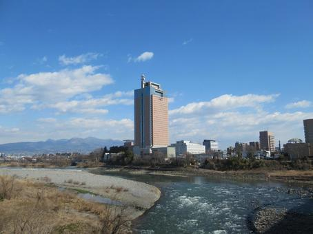 Gunma Prefectural Office and Tone River