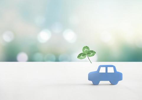 Car model and three-leaf clover