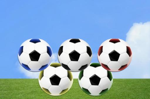 5 wheels / Olympic color light soccer ball / competition / sports / playground / blue sky and grass background / headline, title back text space