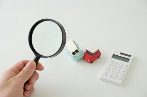 Calculator, magnifying glass and car object